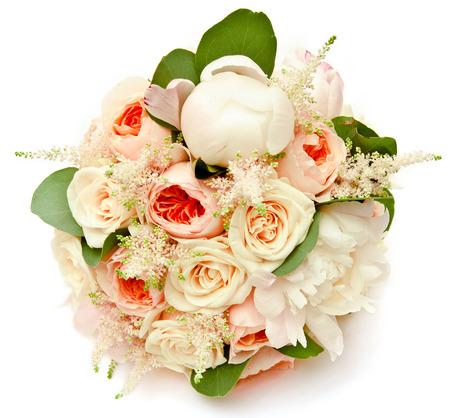 white wedding bouquet with ranunculus asiaticus and white peony Zdjęcie Seryjne