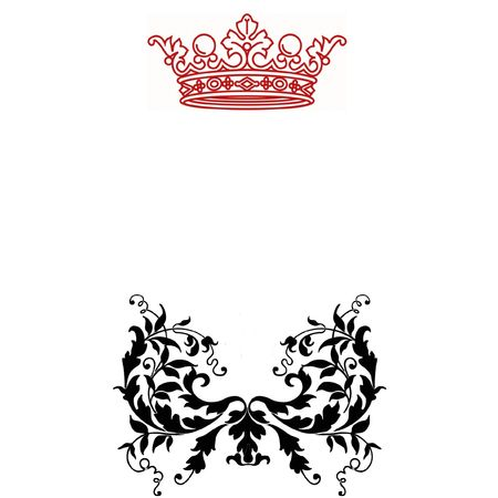 fancy border: big red crown and ornamental pattern Stock Photo