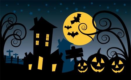 halloween scence Ilustração