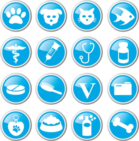 veterinary symbol: animal care icon set