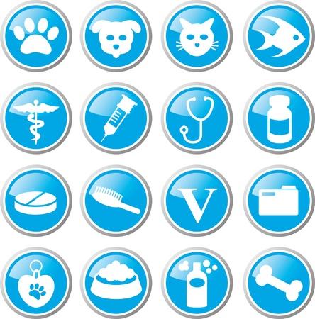 veterinarian symbol: animale cura set di icone