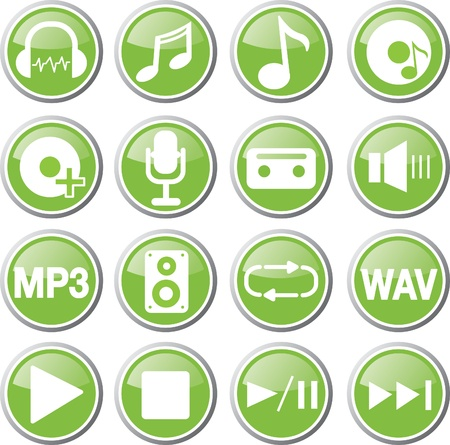 music audio icon set Illustration