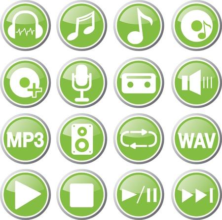 audio: music audio icon set Illustration