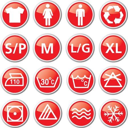 washing information icon set Stock Vector - 17983318
