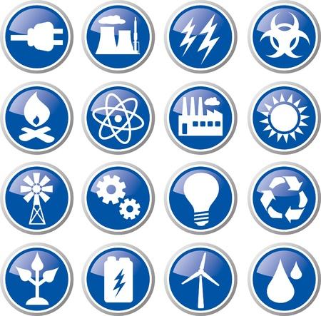 エネルギーのアイコンを設定  イラスト・ベクター素材