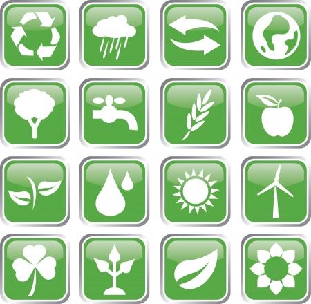 environment green icon set Stock Vector - 17983374