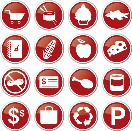food market icon set Stock Vector - 17983378