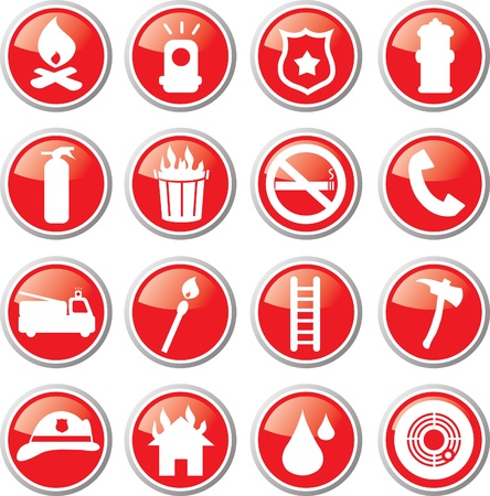 firefighting icon set Vector