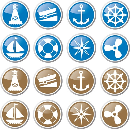 sailing icon set Stock Vector - 17983385