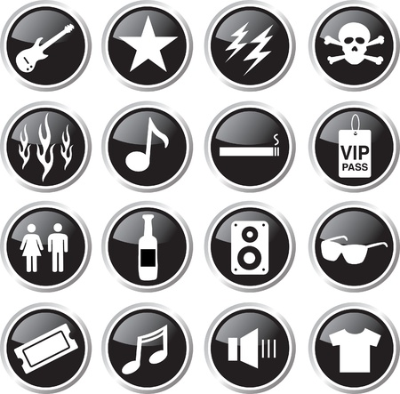 rock music icon set