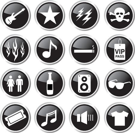 rock music icon set