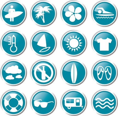 surfing  icon set Stock Vector - 17983387