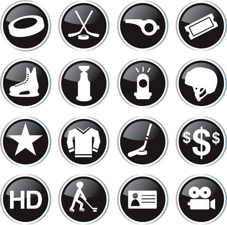 black hockey game icon set