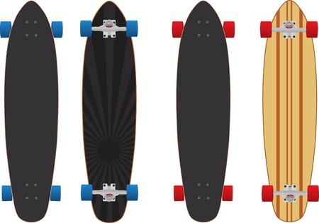 2 つの異なるロング スケート ボードのイラスト バージョン 8  イラスト・ベクター素材