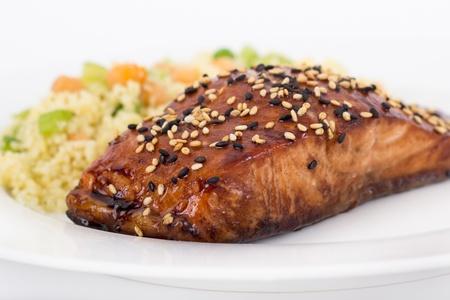 balsamic salmon Standard-Bild