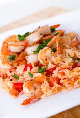 prepared shrimp:  prepared shrimp on rice  Stock Photo