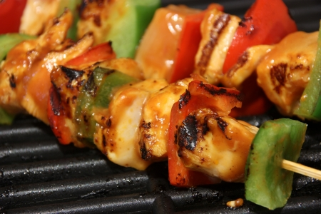 grill:  Chicken kebab on grill  Stock Photo