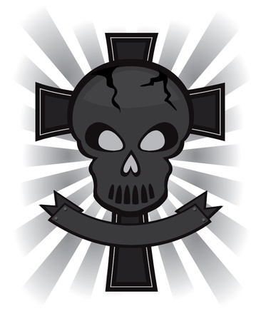black skull over cross banner Vector