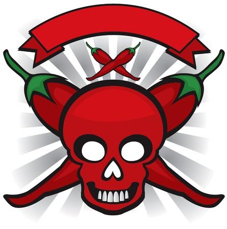 red chili pepper skull