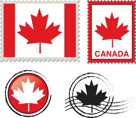 canada stamp: canada flag stamp Illustration