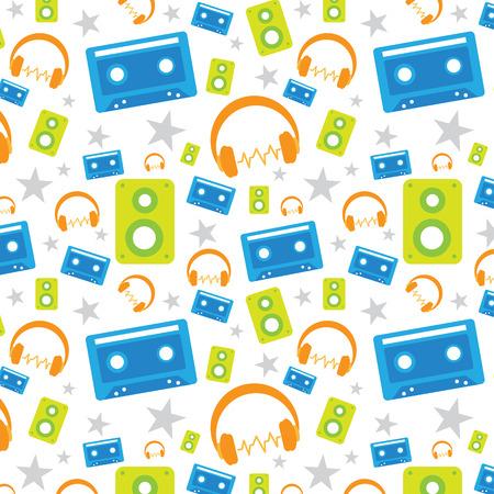 music pop seamless pattern Vector