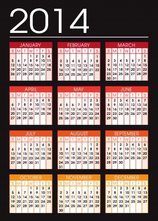 calendar 2014 black and orange Vector