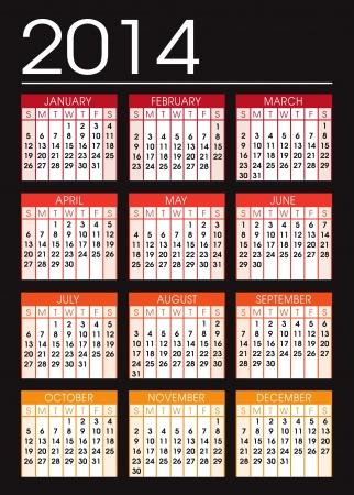 calendar 2014 black and orange