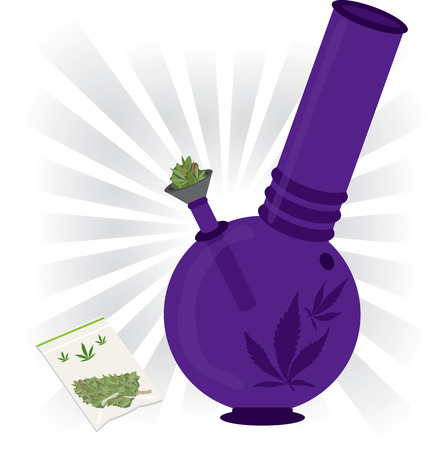 purple marijuana bong Illustration