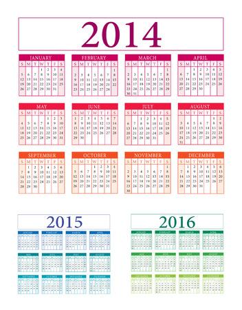 calendar: Calendar 2014 2015 2016 illustration