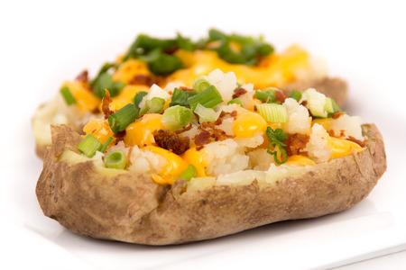 구운 체다 치즈 박제 감자 스톡 콘텐츠