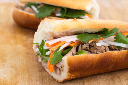 banh mi vietnamese pork sandwich photo