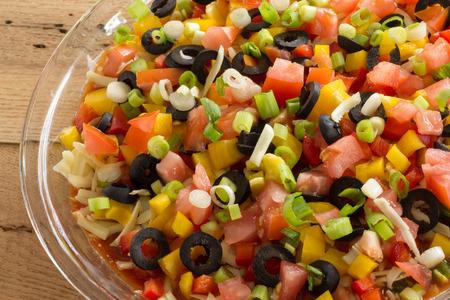 multi layered: festive layered salsa dip