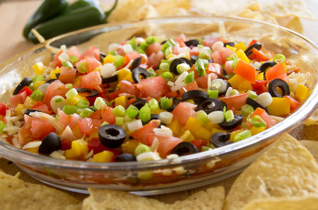 festive layered salsa dip