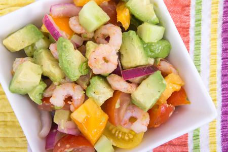 Shrimp and avocado summer salad  photo