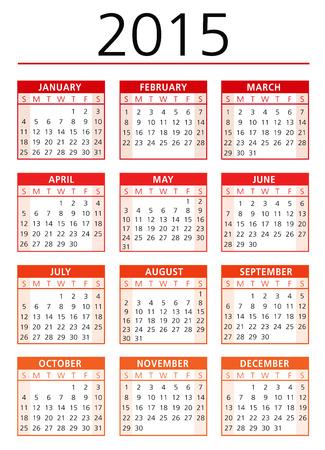 mon 12: calendar 2015 vector Illustration