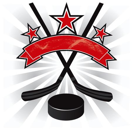 hockey sobre cesped: El hockey sobre hielo dise�o emblema ilustraci�n vectorial