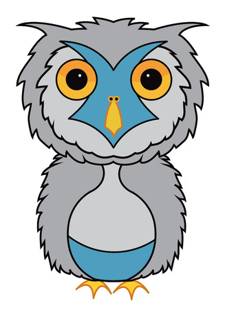 grey: Grey owl cartoon illustration vector
