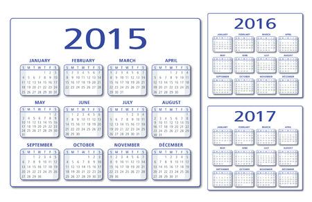 英語のカレンダー 2015年-2016年-2017年ベクトル 写真素材 - 35120937