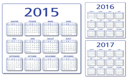 mon 12: French 2015-2016-2017 vector Calendar Illustration