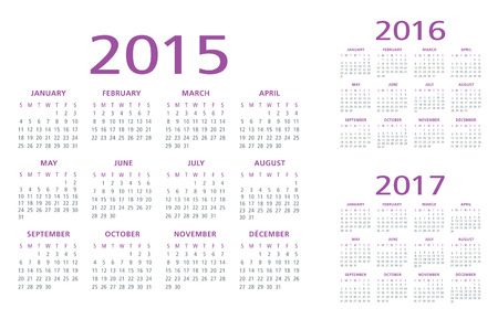 appointments: English Calendar 2015-2016-2017 vector Illustration