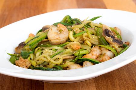 shrimp with zucchini noodles stir-fry