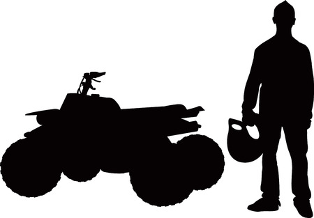 quad bike: Quad bike and rider boy isolated silhouette vector Illustration