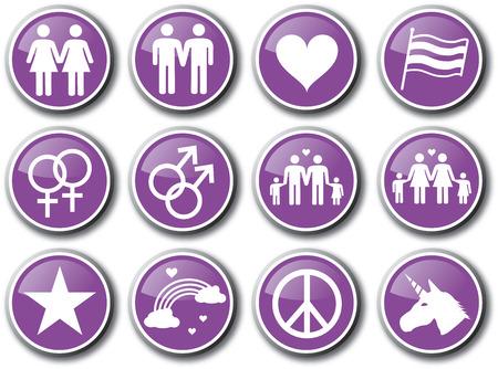 Gay homosexuality purple icon set Vettoriali