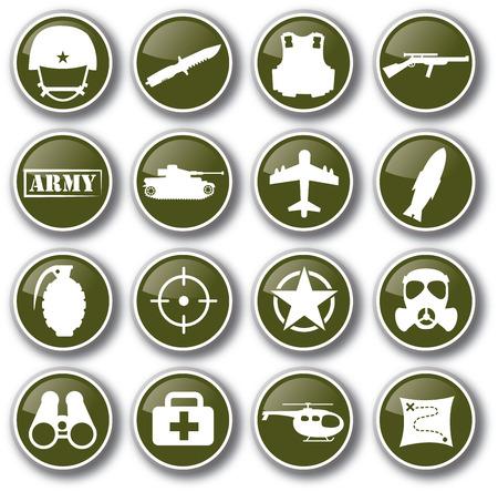 ejército militar conjunto de iconos vectoriales Ilustración de vector