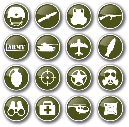 military army vector icon set 向量圖像