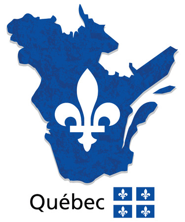 quebec: Quebec map with emblem and flag illustration