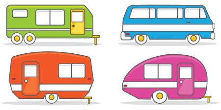 Retro caravan mobile home vector illustration