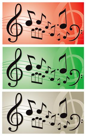Music notes illustration vector banner Çizim