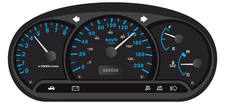 black and blue car dashboard with gauge illustration vector Vettoriali