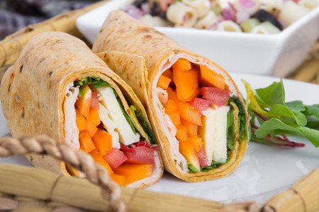 tortilla wrap: sandwich tortilla wrap closeup on plate